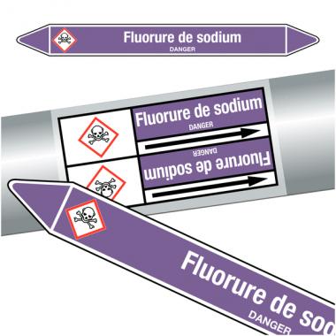 """Marqueurs de tuyauteries CLP """"Fluorure de sodium"""" (Acides et bases)"""