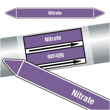 """Marqueurs de tuyauteries CLP """"Nitrate"""" (Acides et bases)"""