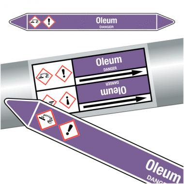 """Marqueurs de tuyauteries CLP """"Oleum"""" (Acides et bases)"""