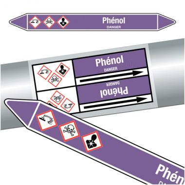 """Marqueurs de tuyauteries CLP """"Phénol"""" (Acides et bases)"""