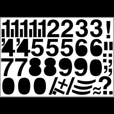 Caractères en planches de chiffres et lettres colorés en vinyle adhésif