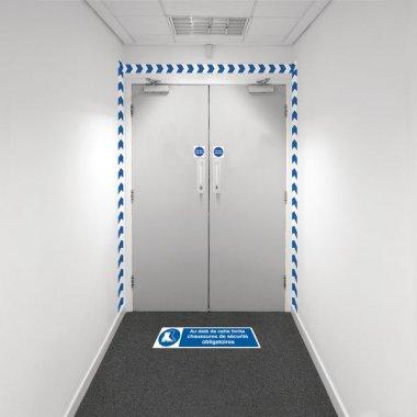 Kit barrière visuelle avec ruban adhésif mural et marquage au sol - Chaussures de sécurité obligatoires - M008
