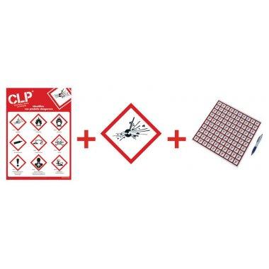 """Kit avec autocollants d'avertissement CLP et poster """"Substances explosives"""" - GHS01"""