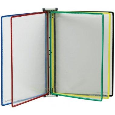 Ensemble mural magnétique 10 protège-documents colorés A4