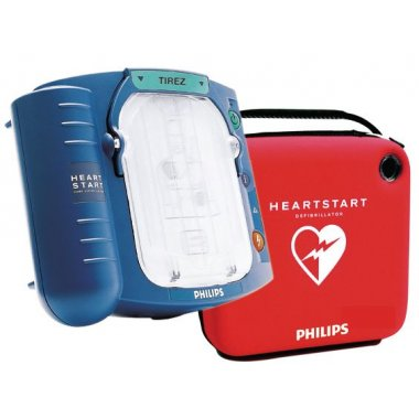 Défibrillateur HeartStart HS1 avec sa housse de rangement