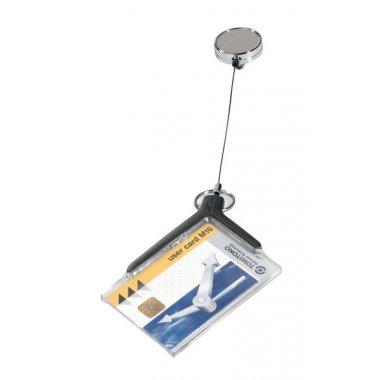 Porte-badge ou carte de sécurité avec enrouleur chromé
