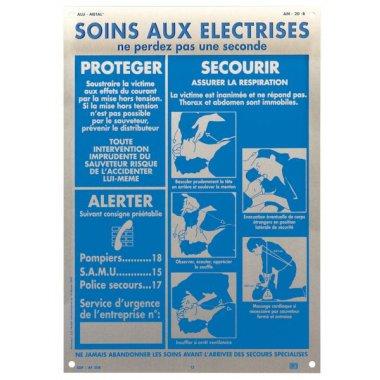Consignes sur panneau en aluminium A4 - Soins aux électrisés
