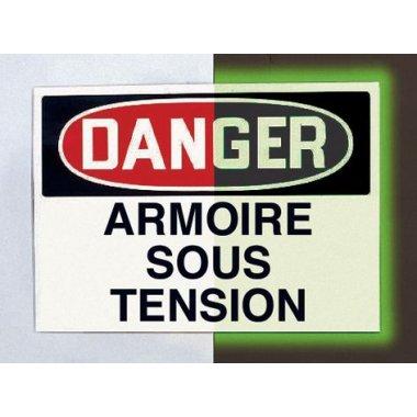 "Panneau d'avertissement photoluminescent type OSHA ""Danger - Armoire sous tension"""