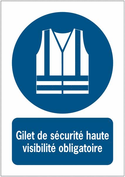 Panneaux iso 7010 message vertical gilet de s curit haute visibilit obligatoire m015 - Port du gilet obligatoire ...