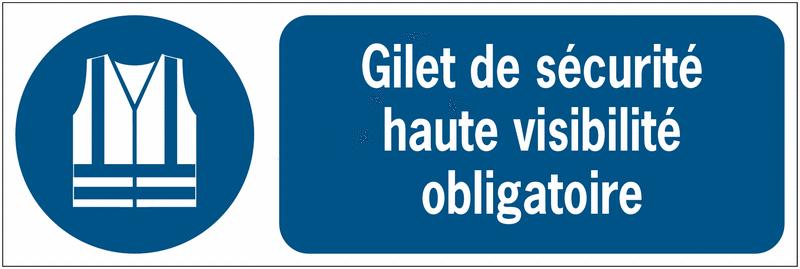 Panneaux iso 7010 d 39 obligation message horizontal gilet de s curit haute visibilit m015 - Port du gilet obligatoire ...