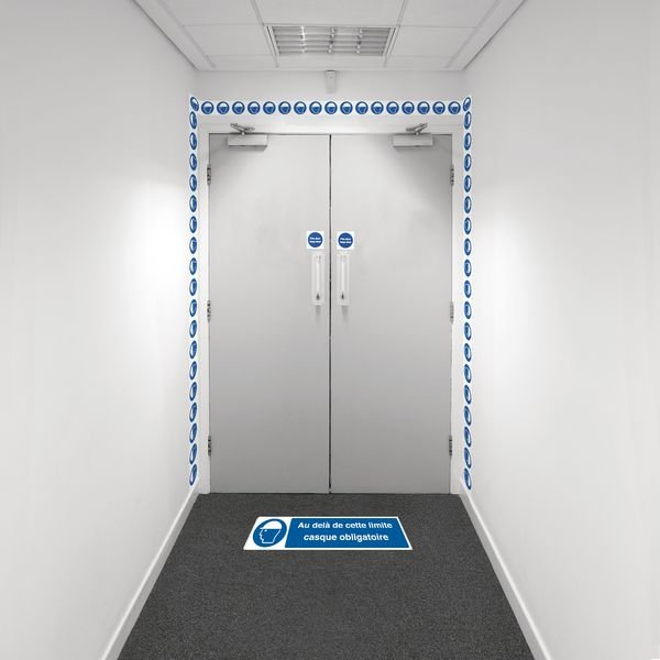 Kit barrière visuelle avec ruban adhésif mural et marquage au sol - Casque de sécurité obligatoire - M014