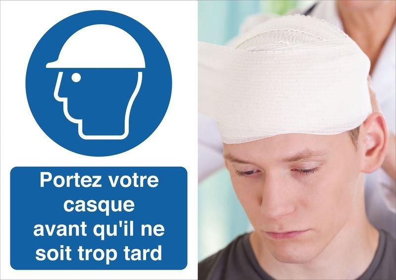 Poster de sécurité - Portez votre casque - M014