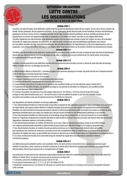 Affichage obligatoire sur la lutte contre les discriminations