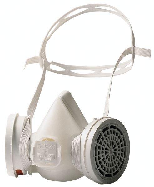 Demi-masque de protection respiratoire bi-filtre jetable léger