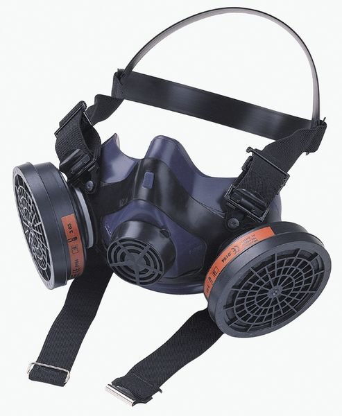 Demi-masque de protection respiratoire bi-filtre en silicone, avec système de fixation click