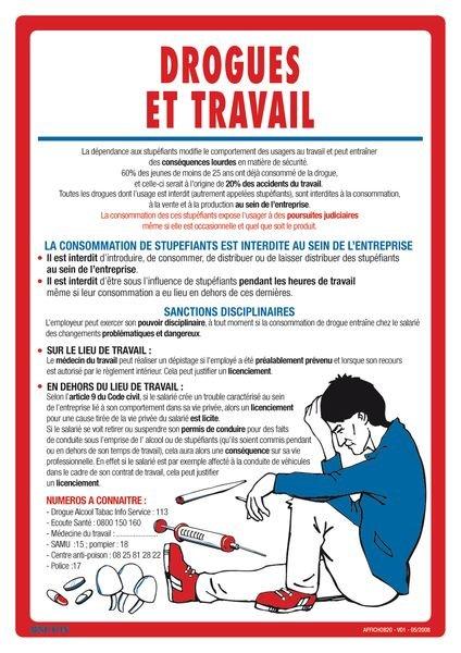 Affichage obligatoire sur les drogues et le travail