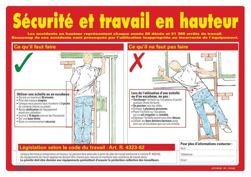 Affiche sur la sécurité et le travail en hauteur