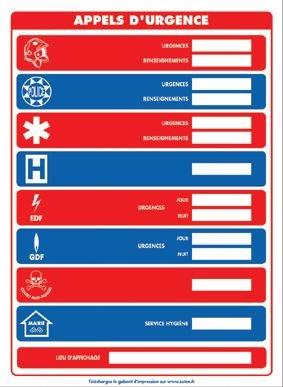 Affichage obligatoire à insert sur les numéros d'appels d'urgence