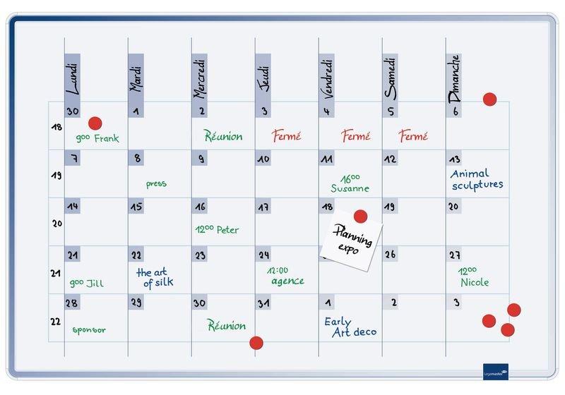 Planning hebdomadaire magnétique laqué pour 5 personnes ou mensuel pour 1 personne