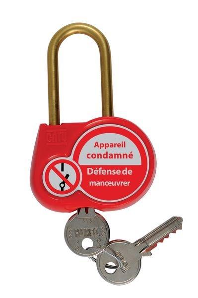 Cadenas de condamnation avec étiquette de signalisation