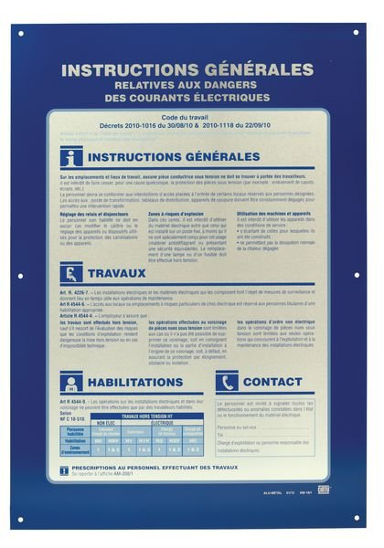 Consignes générales relatives aux dangers des courants électriques