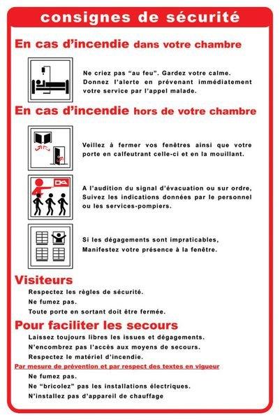 Consignes de sécurité en chambre d'hôpital