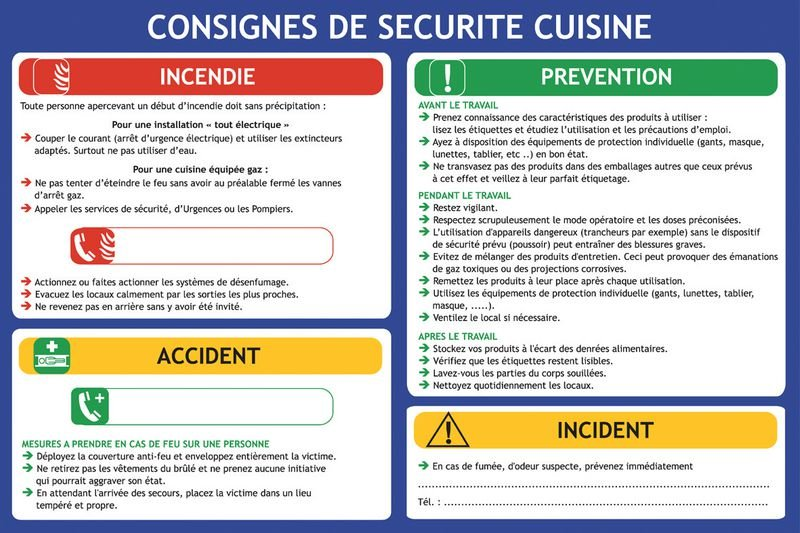 Consignes de sécurité en cuisine