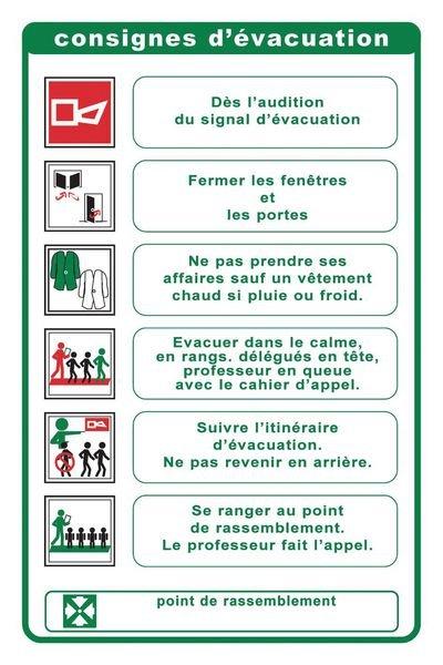 Consignes de sécurité pour l'évacuation d'un collège