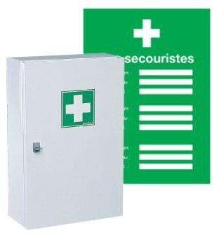 Kit de premiers secours pharmacie et affichage des secouristes à compléter
