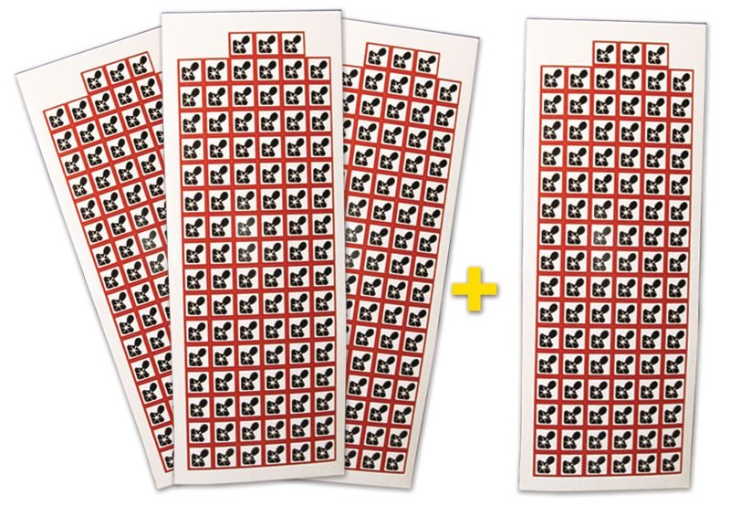 """Lot de 4 planches de pictogrammes CLP """"Risques mutagène, respiratoire, cancérigène ou pour la reproduction"""" (3+1 gratuite)"""