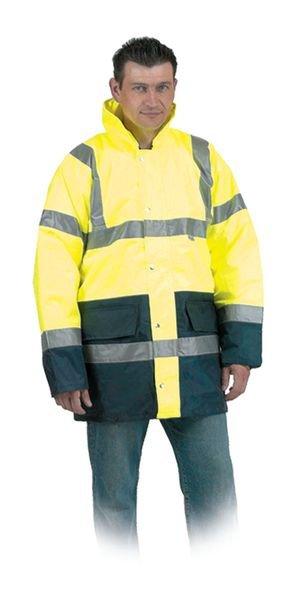 Veste de pluie jaune fluo avec bandes rétroréfléchissantes