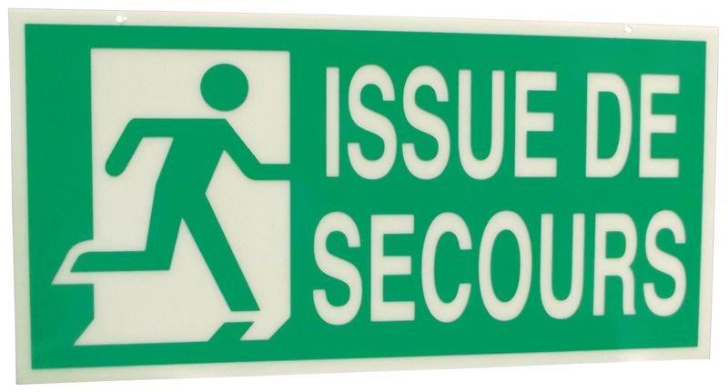 """Panneaux à suspendre avec texte """"issue de secours"""" marqués à gauche et à droite (recto-verso)"""