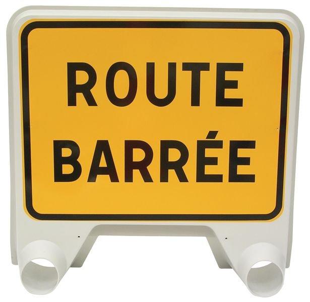 Panneau de signalisation temporaire en polypropylène - Route barrée
