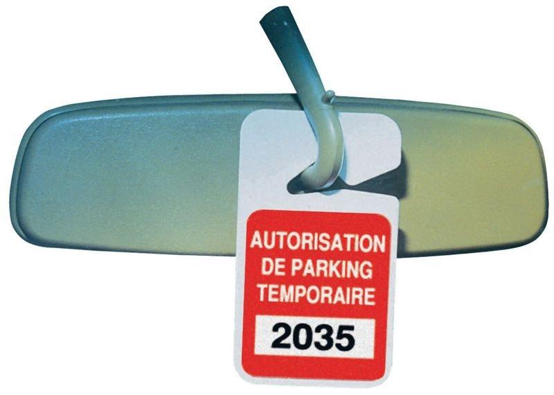 Badges parking personnalisés plastique à suspendre au rétroviseur
