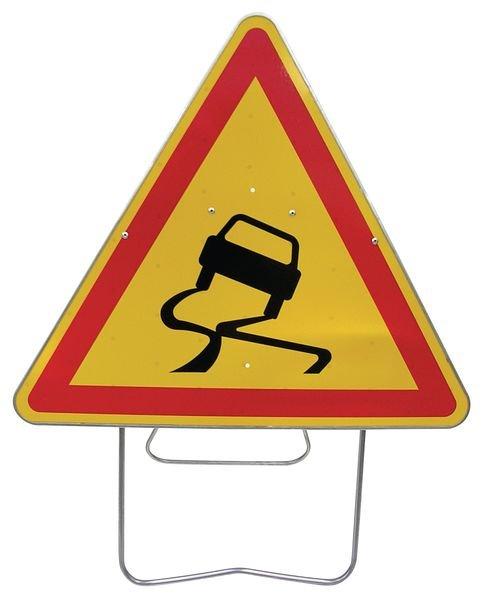 """Panneau de signalisation temporaire sur pied """"Chaussée glissante"""""""
