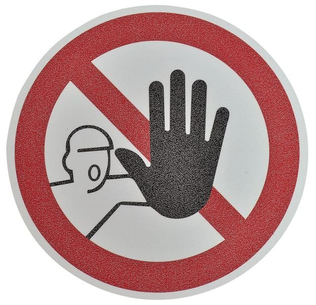 """Pictogramme antidérapant au sol """"Accès interdit aux personnes non autorisées"""""""