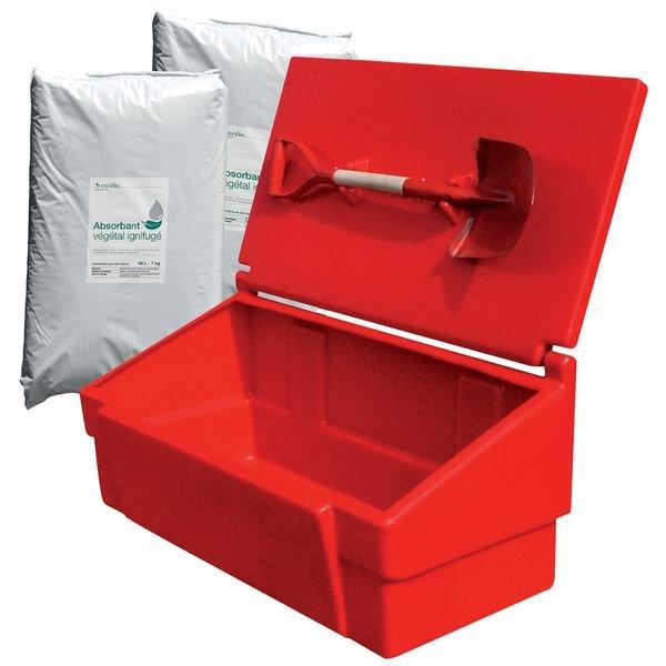 Prix spécial - Kit avec coffre de stockage, pelle incendie et 2 sacs d'absorbant