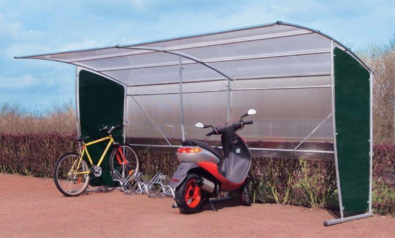 Abris vélos et motos en polycarbonate de forme rectiligne