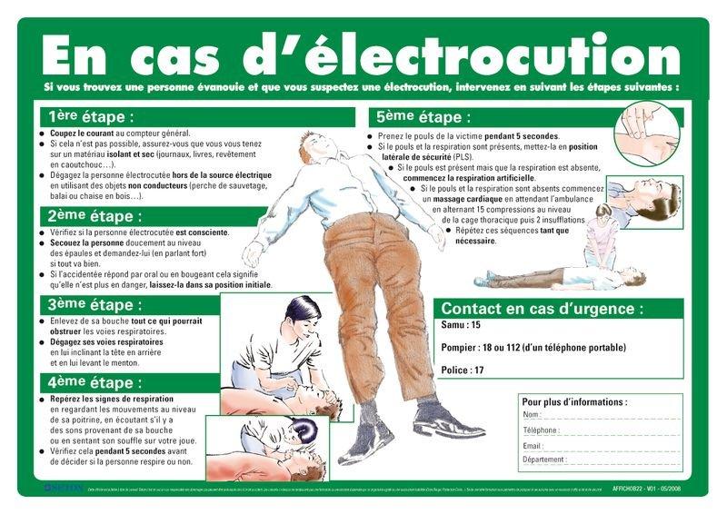 Affiche de premiers secours sur les gestes à faire en cas d'électrocution