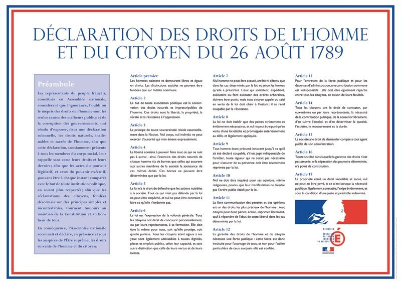 """Affiche réglementaire de la """"Déclaration des Droits de l'Homme et du Citoyen"""" (DDHC)"""
