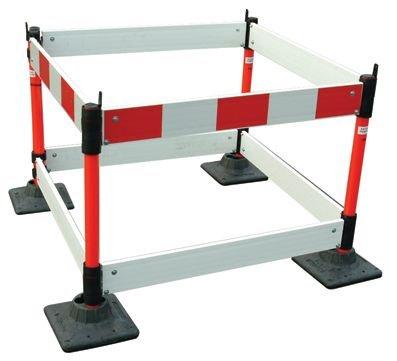 Barrière pliable et socle avec lisses rouge et blanche de 4m