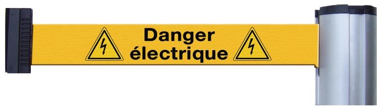 Poteaux à sangle ou sangles murales avec signalisation et message - Danger électrique