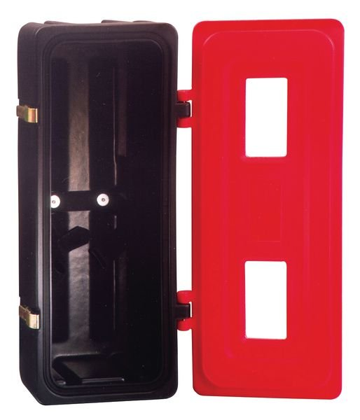Coffret de rangement pour extincteurs en polyéthylène.