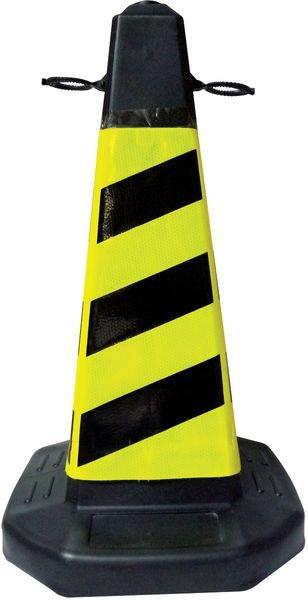 Cône de signalisation hachuré noir et jaune