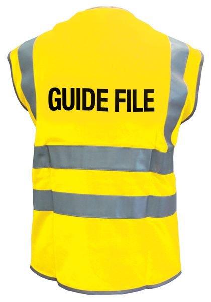 Gilets de sécurité fluo avec marquage Guide file ou Serre file