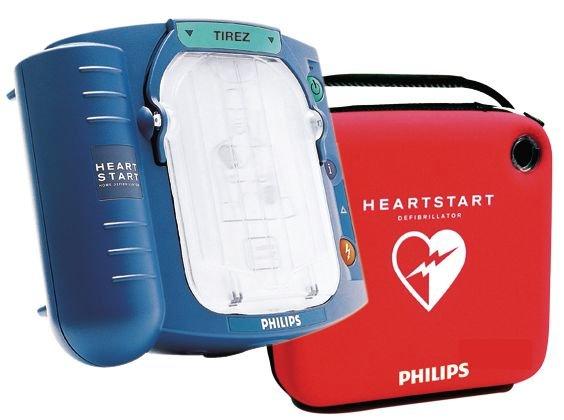 Défibrillateur semi-automatique HeartStart HS1 avec sa housse de rangement