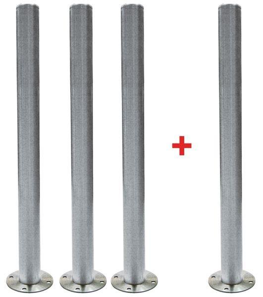 Lot de 4 poteaux en acier sur platine