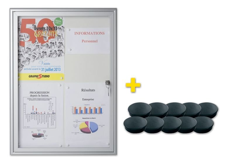 Kit 1 vitrine intérieure fond métal + 10 aimants noirs
