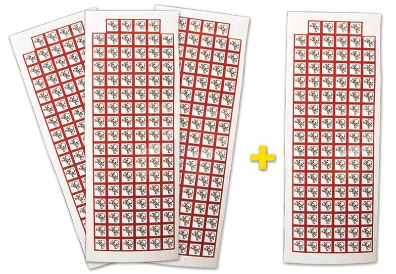 """Lot de 4 planches de pictogrammes CLP """"Toxicité aiguë catégorie 1, 2, 3"""" (3+1 gratuite)"""