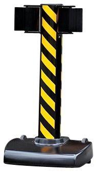 Poteau à roulettes à double sangle étirable de 20m noir et jaune